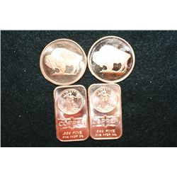 2011 Buffalo Copper Round, .999 Fine 1 Oz., lot of 2 & 2012 Copper Ingot, .999 Fine 1 Oz., lot of 2