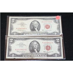 1963 United States Note $2, Red Seal, lot of 2