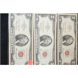 1963 United States Note $2, Red Seal, lot of 3