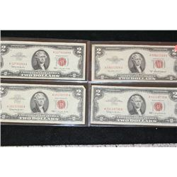1953-A United States Note $2, Red Seal, lot of 1 & 1963 United States Note $2, Red Seal, lot of 3 to