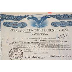 Sterling Precision Corp. Stock Certificate dated 1959