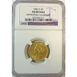 1883-S $5 GOLD NGC AU CLEANED