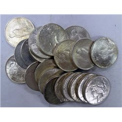 ROLL OF 20 PEACE SILVER DOLLARS ALL AU OR BETTER
