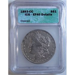 1893-CC MORGAN DOLLAR ICG EF-40 OLD CLEANING