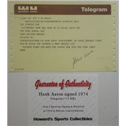 HANK AARON AUTOGRAPHED TELEGRAM DATED 4-8-1974