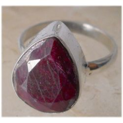 Natural 27.75 ctw Ruby Trillioncut Ring .925 Sterling