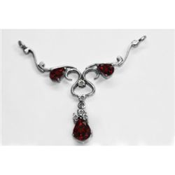 NATURAL 4.00g GARNET OVAL PENDANT .925 STERLING SILVER