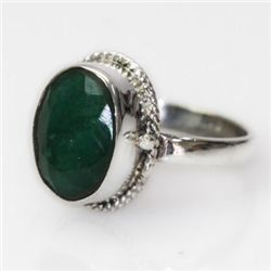 Natural 46.34 ct Emerald Oval Ring .925 Sterling Silver