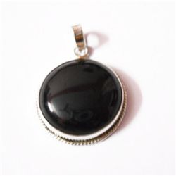 Natural 41.75 ctw Black Onex Pendant .925 Sterling