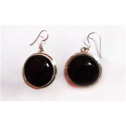 Natural 76.75 ctw Black Onex Earrings .925 Sterling
