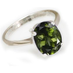 Natural 2.25 ctw Green Tourmaline .925 Sterling Ring