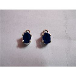 Natural 3 ctw Sapphire .925 Sterling Earrings