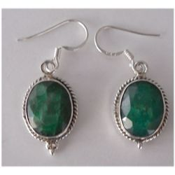 Natural 25.60 ctw Emerald Oval Earrings .925 Sterling