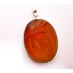 Natural 66.30 ctw Susunight Oval Pendant .925 Sterling