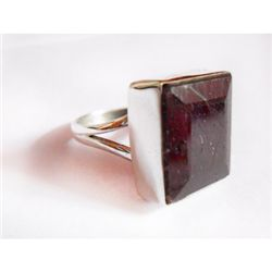 Natural 42.50 ctw Ruby Ring .925 Sterling Silver