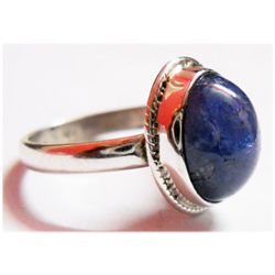 Natural 4.8 g Tanzanite Oval .925 Sterling Silver Ring