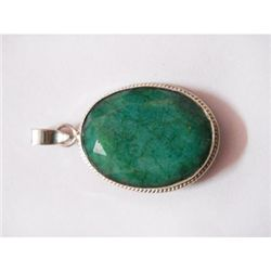 Natural 40.65 ctw Emerald Oval Pendant .925 Sterling