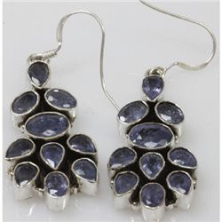Natural 11.06g Tanzanite Earrings .925 Sterling Silver