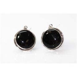 Natural 75.55 ctw Black Onex Earrings. 925 Sterling