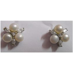 Natural 21.30 ctw Pearl Round Earrings .925 Sterling