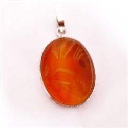 Natural 67.15 ctw Susunight Oval Pendant .925 Sterling