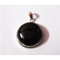 Natural 52.25 ctw Black Onex Pendant .925 Sterling