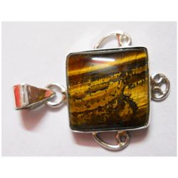 Natural 4.42g Tiger Square .925 Sterling Silver Pendant