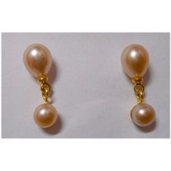 Natural 11.45 ctw Pearl Round Earrings .925 Sterling