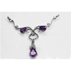 NATURAL 4.00g AMETHYST OVAL PENDANT .925 STERLING SILVE