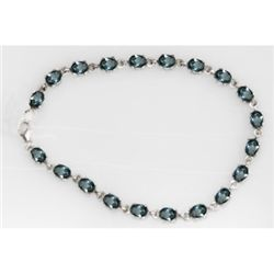 NATURAL 10.50 CTW BLUE TOPAZ OVAL BRACELET .925 STERLIN