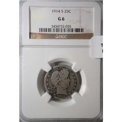 1914S Barber quarter  NGC06     bid GS = $145 in  08