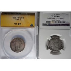 1916D  Barber quarter  NGC VF cleaned