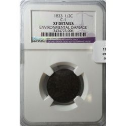 1833 half cent   NGC XF C-1 environmental damage.Coin is a nice VF