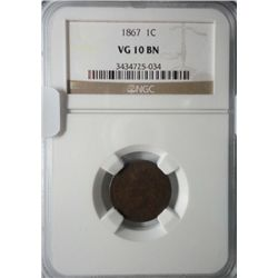 1867  NGC  10 Indian penny.