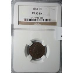 1868  NGC  30 Indian penny.