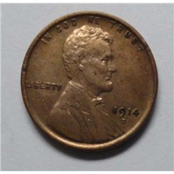 1914D Lincoln penny  AU coin BUT