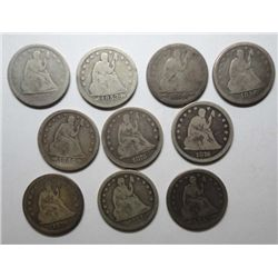 10 Seated Liberty quarters   Good or better