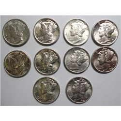 10 CHOICE TO GEM BU MERCURY DIMES