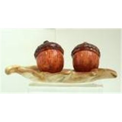 Autumn Settings Ceramic Leaf And Acorn Salt & Pepper Shaker by Russ New In Box