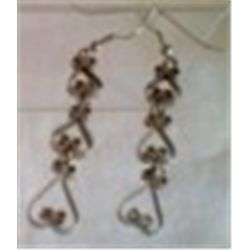Vintage Dangle Hearts Earrings 2 1/2""