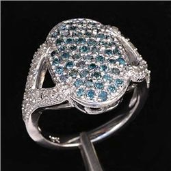 1.10 Ctw. Blue & White Diamond Ring