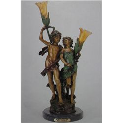 """Young Lovers"" Bronze Sculpture Lamp - A.  Moreau"