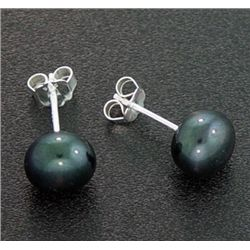 7 Mm Black Pearl Stud Earrings