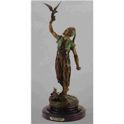 """Standing Falconer"" Bronze Sculpture - Mene"
