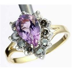 2 Ctw Diamond & Amethyst Ring In 10ky Gold