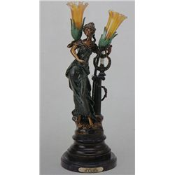"""Harp Girl"" Bronze Sculpture Lamp - A.  Moreau"
