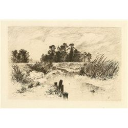 "Moran ""Passaic Meadows"" Original Etching"