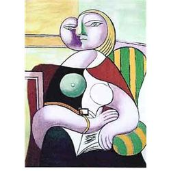 "Picasso ""Lady In Striped Green Chair"""