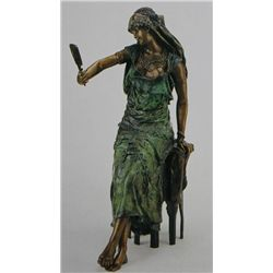 """Seated Mirror Girl"" Bronze Sculpture - Luca"