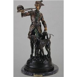 """Hunter With Horns & Hounds"" Bronze Sculpture - A. Moreau"
